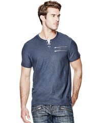 GUESS GUESS Makis Short-Sleeve Slit-Neck Tee - blue