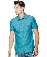 GUESS GUESS Gershon Short-Sleeve Chambray Shirt - bermuda blue