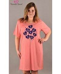Vienetta Secret Dámská noční košile s krátkým rukávem Love you - lososová