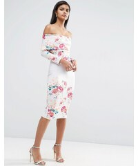 ASOS - Robe à encolure Bardot échancrée et imprimé floral placé - Multi