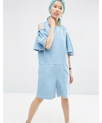 ASOS WHITE - Kurzer Jeansoverall mit Cutout-Schulter - Blau