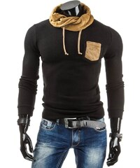 Černý svetr s kapsou a hnědou šálou u krku