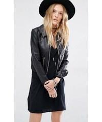 HUSH HUSH Černá koženkový bunda s límečkem