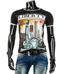 Černé pánské tričko s potiskem SOCHA SVOBODY