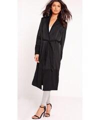 MISSGUIDED Lehký černý saténový kabát