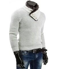Bílý zimní pánský svetr s elegantním rolákem