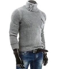 Šedý pánský zateplený svetr pro frajery