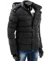 Stylová černá polstrovaná teplá bunda pro chlapy