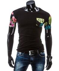 Černé pánské casual tričko s květy