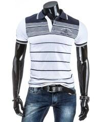 Pánské modro-bílé pruhované polo tričko