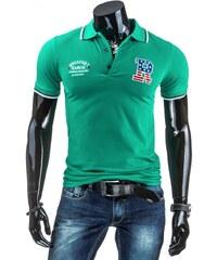 Tyrkysově zelené polo tričko s výšivkou BBGSPORT