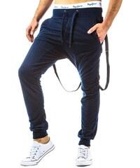Tmavě modré teplákové kalhoty s kšandami pro frajery