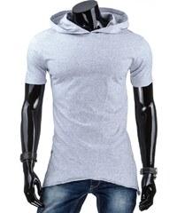 Světle šedé trendy tričko s kapucí pro frajery