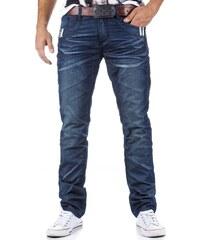 Pánské modré džíny s ozdobnými detaily