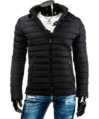 Černá zimní bunda v motorkářském stylu pro muže
