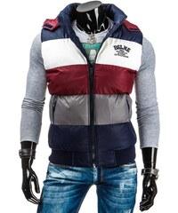 Tmavě modrá zimní bunda s barevnými pruhy
