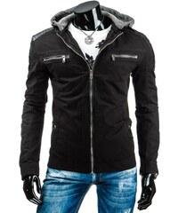 Módní černá podzimní bunda s kapucí pro frajery