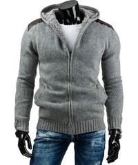 Pánský šedý rozepínací svetr se záplatami