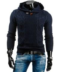 Tmavě modrý svetr s pleteným vzorem a kapucí