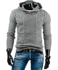 Módní šedý svetr s pleteným vzorem a kapucí