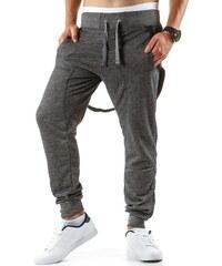Pánské antracitově šedé teplákové kalhoty s kšandami