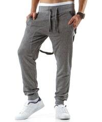 Pánské středně šedé teplákové kalhoty s kšandami