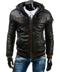 Pánská černá kožená bunda s kapucí