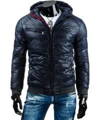 Luxusní pánská zimní bunda tmavě modrá