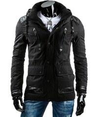 Černá pánská zimní bunda s delším střihem