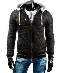 Černohnědá prošívaná bunda se světlou kapucí