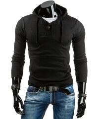 Módní pánský svetr s klokankou a kapucí černý
