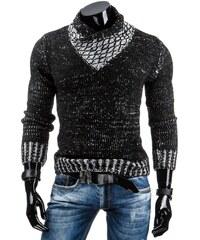 Módní fešácký svetr s překříženým rolákem černý