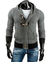 Pěkný antracitový svetr s kapucí a zapínáním na zip a olivky