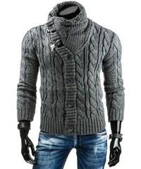 Tmavě šedý pánský svetr s netradičně zapínaným rolákem