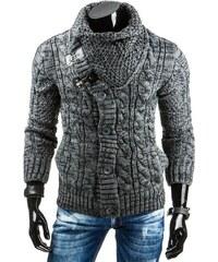 Antracitový pánský svetr s netradičně zapínaným rolákem