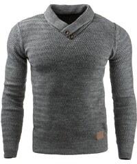 Módní svetr se dvěma knoflíčky u krku antracitový