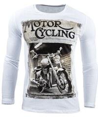 Bílé pánské tričko MOTORCYCLING s dlouhými rukávy