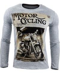 Šedé pánské tričko MOTORCYCLING s dlouhými rukávy