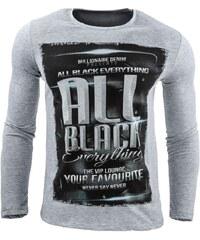 Pánské šedé tričko s dlouhým rukávem ALL BLACK