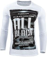 Pánské bílé tričko s dlouhým rukávem ALL BLACK