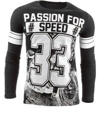 Černé tričko s dlouhým rukávem PASSION FOR SPEED pro muže
