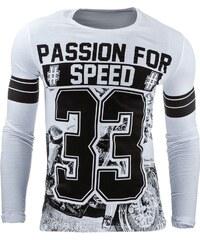 Bílé tričko s dlouhým rukávem PASSION FOR SPEED pro muže
