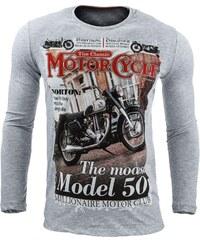 Bavlněné tričko THE CLASSIC MOTORCYCLE šedé