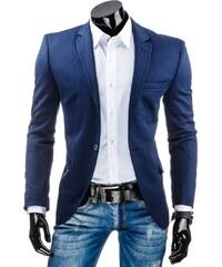 Tmavě modré ležérní sako s efektem prošívaného