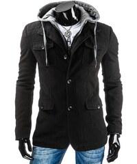 Černý pánský kabát na knoflíky s kapucí