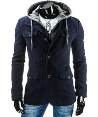 Modrý pánský plášť s kapucí