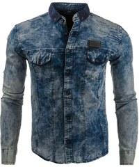 Džínová slim košile s tmavě modrým límečkem a nášivkou