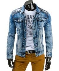 Pánská džínová bunda s maskáčovými nášivkami na loktech