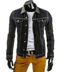 Tmavá džínová mužská bunda na knoflíky