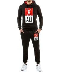 Sportovní souprava MUHAMMAD ALI černá s červeně podšitou kapucí